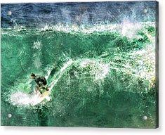 Big Wave Surfing Acrylic Print by Elaine Plesser