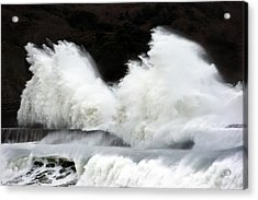 Big Waves Breaking On Breakwater Acrylic Print