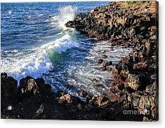 Big Waves Crashing On Lava Cliffs On Maui Hawaii Coastline Acrylic Print by Edward Fielding