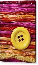 Big Yellow Button  Acrylic Print by Garry Gay