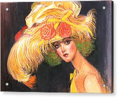 Acrylic Print featuring the painting Big Yellow Fashion Hat by Sue Halstenberg