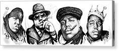Biggie Smalls Art Drawing Poster Acrylic Print by Kim Wang