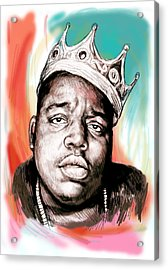 Biggie Smalls Colour Drawing Art Poster Acrylic Print by Kim Wang