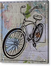 Bike 6 On Map Acrylic Print by William Cauthern