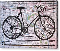 Bike 8 On Map Acrylic Print by William Cauthern