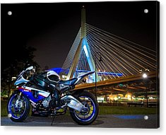 Bike And Bridge Acrylic Print by Lawrence Christopher