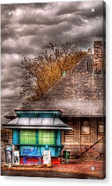Bike - At The Train Station Acrylic Print by Mike Savad