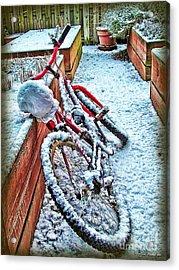 Bike In Winter Acrylic Print by Joan  Minchak