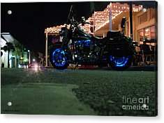Bike Night In Blue Light Acrylic Print