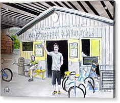 Acrylic Print featuring the drawing Bike Pittsburgh by Albert Puskaric