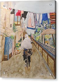 Bike Rider In Jerusalem Acrylic Print by Esther Newman-Cohen