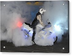 Biker Burn Out Acrylic Print by Joe Oliver