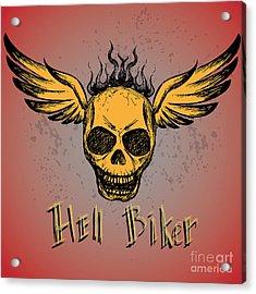 Biker Emblem, Logo Or Tattoo, Hand Acrylic Print by Naum