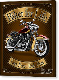 Biker For Life Acrylic Print by JQ Licensing