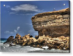 Acrylic Print featuring the photograph Biker On The Rocky Cliff At La Pared by Julis Simo