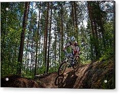 Biker On Trail Acrylic Print