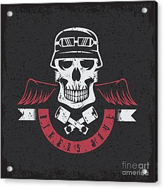 Biker Theme Grunge Label With Pistons Acrylic Print