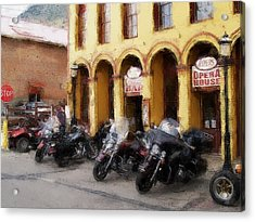 Bikers Outside Corner Bar Acrylic Print