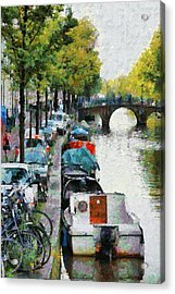 Bikes And Boats In Old Amsterdam Acrylic Print