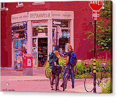 Bikes Backpacks And Cold Beer At The Local Corner Depanneur Montreal Summer City Scene  Acrylic Print by Carole Spandau