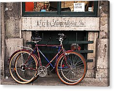 Bikes In Old Montreal Acrylic Print by John Rizzuto