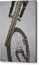 Biking In The Rain Acrylic Print by Karol Livote