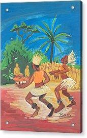 Acrylic Print featuring the painting Bikutsi Dance 2 From Cameroon by Emmanuel Baliyanga