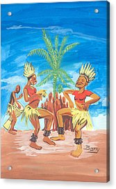 Acrylic Print featuring the painting Bikutsi Dance 3 From Cameroon by Emmanuel Baliyanga