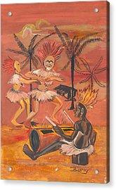 Acrylic Print featuring the painting Bikutsi Dance From Cameroon by Emmanuel Baliyanga