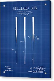 Billiard Cue Patent From 1879 - Blueprint Acrylic Print by Aged Pixel