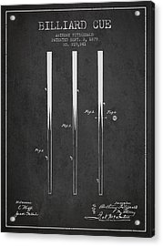 Billiard Cue Patent From 1879 - Charcoal Acrylic Print by Aged Pixel