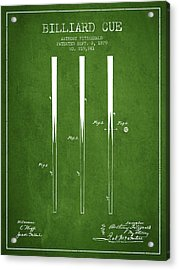 Billiard Cue Patent From 1879 - Green Acrylic Print by Aged Pixel