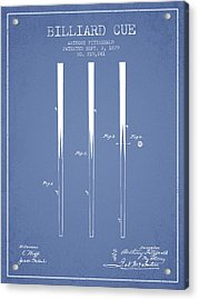 Billiard Cue Patent From 1879 - Light Blue Acrylic Print by Aged Pixel