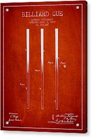 Billiard Cue Patent From 1879 - Red Acrylic Print by Aged Pixel