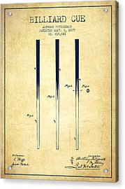 Billiard Cue Patent From 1879 - Vintage Acrylic Print by Aged Pixel