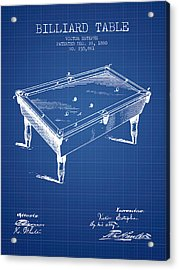 Billiard Table Patent From 1880 - Blueprint Acrylic Print by Aged Pixel