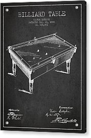 Billiard Table Patent From 1880 - Charcoal Acrylic Print by Aged Pixel