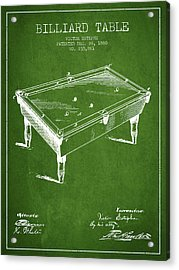 Billiard Table Patent From 1880 - Green Acrylic Print by Aged Pixel