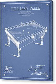Billiard Table Patent From 1880 - Light Blue Acrylic Print by Aged Pixel