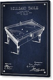 Billiard Table Patent From 1880 - Navy Blue Acrylic Print by Aged Pixel