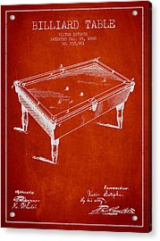 Billiard Table Patent From 1880 - Red Acrylic Print by Aged Pixel