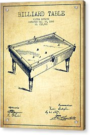 Billiard Table Patent From 1880 - Vintage Acrylic Print by Aged Pixel
