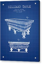Billiard Table Patent From 1900 - Blueprint Acrylic Print by Aged Pixel