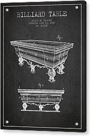 Billiard Table Patent From 1900 - Charcoal Acrylic Print by Aged Pixel