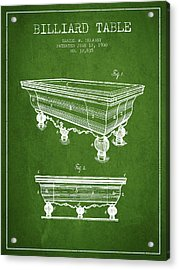 Billiard Table Patent From 1900 - Green Acrylic Print by Aged Pixel