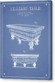 Billiard Table Patent From 1900 - Light Blue Acrylic Print by Aged Pixel