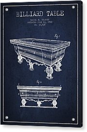 Billiard Table Patent From 1900 - Navy Blue Acrylic Print by Aged Pixel