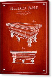 Billiard Table Patent From 1900 - Red Acrylic Print by Aged Pixel