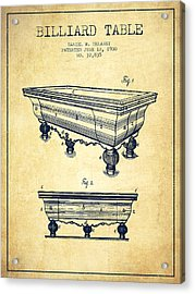Billiard Table Patent From 1900 - Vintage Acrylic Print by Aged Pixel