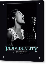 Billie Holiday Individuality   Acrylic Print by Retro Images Archive
